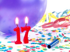 Birthday Candles Showing Number 17